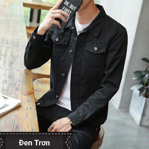 phối đồ với áo khoác jean đen