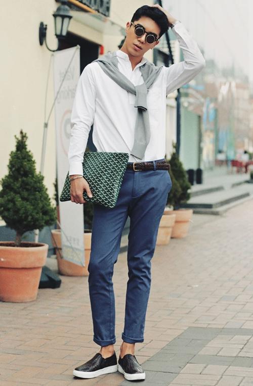 phối đồ với giày đen nam